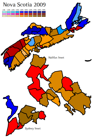 2009 Nova Scotia Election Results <br> (Click image to enlarge)
