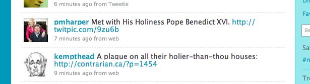 Screenshots: coincidental tweets.