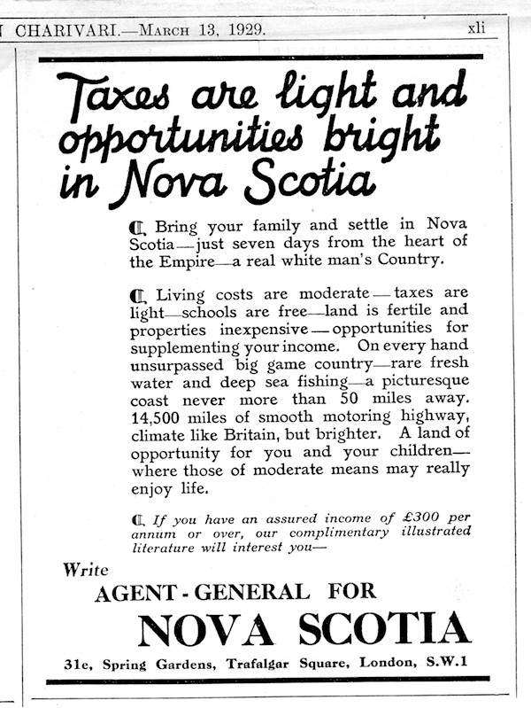 Nova Scotia Agent General advertisement in Punch March 13th 1929 page xii small
